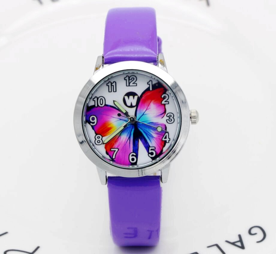 Little Boys And Girls Colorful Butterfly Insects Dial Jelly Leather Watch Luminous Hands Kids Student Animals Xmas Gift Clock