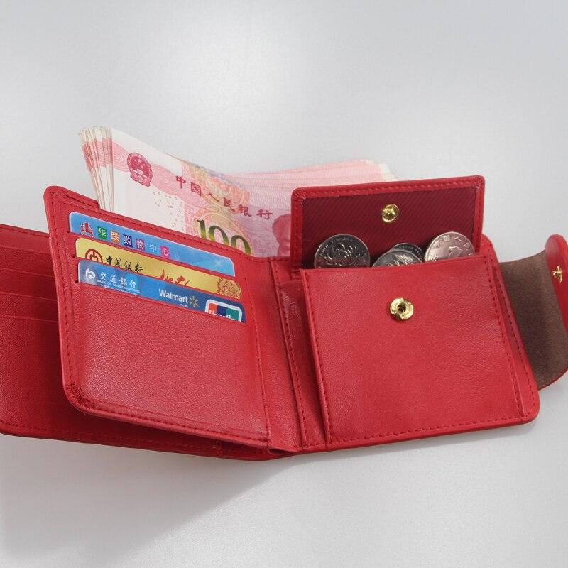 Harrm's Marka Klasik Moda hakiki deri kadın cüzdan kısa kırmızı - Cüzdanlar - Fotoğraf 4