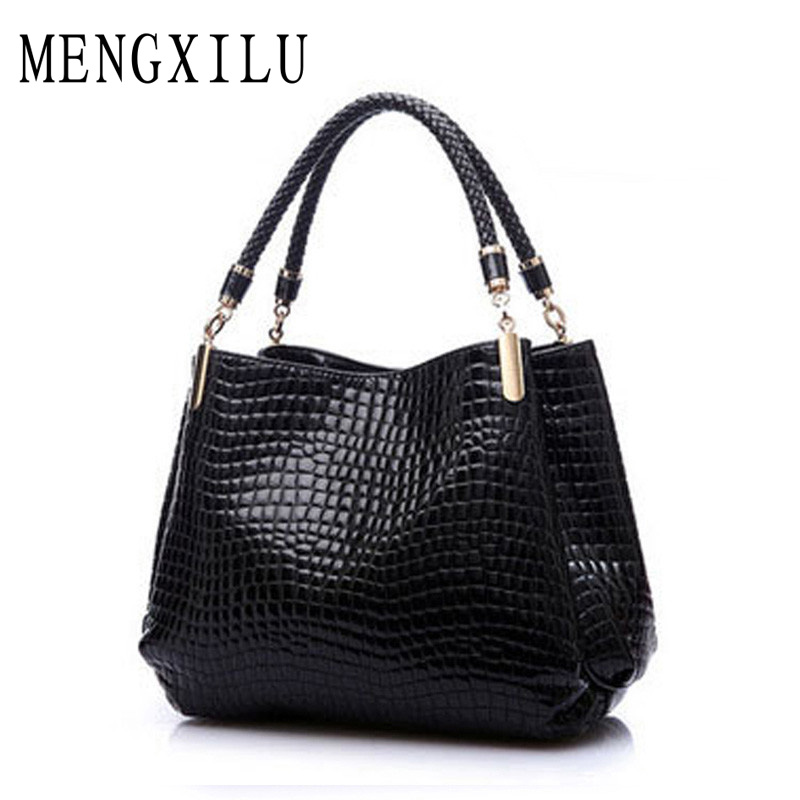 Fashion Big New Women Shoulder Bags Alligator Ladies Leather Bags Women Handbags Of Famous Brands Totes 2016 Black Sac Espagnol fashion patchwork trapeze bags handbags women famous brands women crossbody bag smile face ladies hand bags new big capacity sac