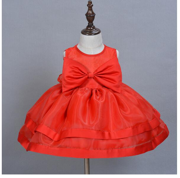 Baby Girls Pageant Formal Dresses 2017 Baptism Big Bow Cute Infant Girls Princess tutu Dress Christmas Kids Birthday Dresses Red baby girls pageant formal dresses 2017 baptism bow lace cute infant girls princess tutu dress kids birthday party dresses pink