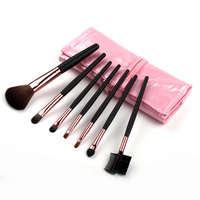 7 Makeup Brushes In Sleek Pink Leather Like Case Portable Free Shipping
