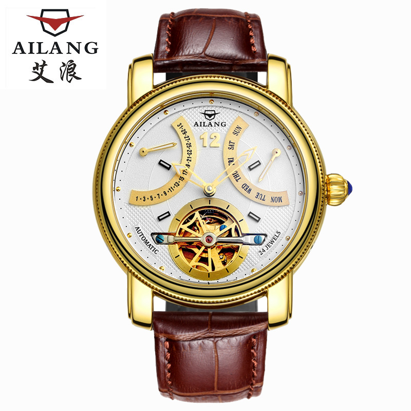 Ailang flying tourbillon mens watches auto mechanical skeleton watch men waterproof auto for Watches clearance
