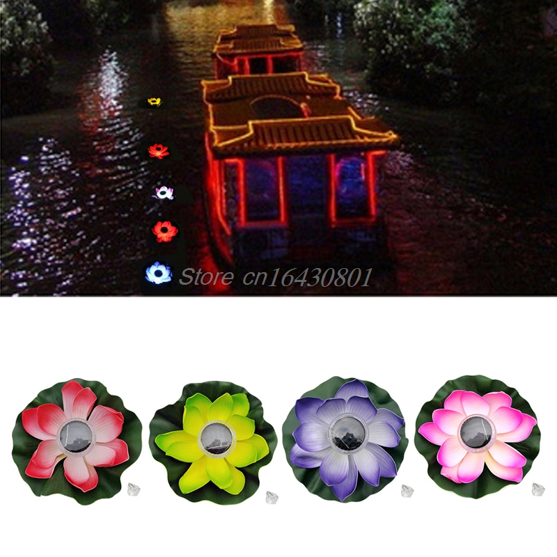 Solar LED RGB Lotus Flower Light Floating Fountain Pond Garden Pool Lamp S08 Drop ship