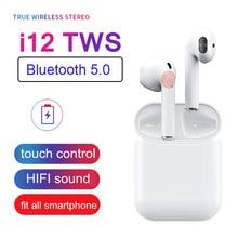 Оригинальный мини портативный i12 СПЦ Спортивные наушники Bluetooth беспроводной вкладыши телефон HIFI стерео гарнитура для iPhone