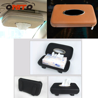 1pcs Car Tissue Box Car Vehicle Mounted Leather Sun Visor Napkin Paper Holder For Decorative Storage