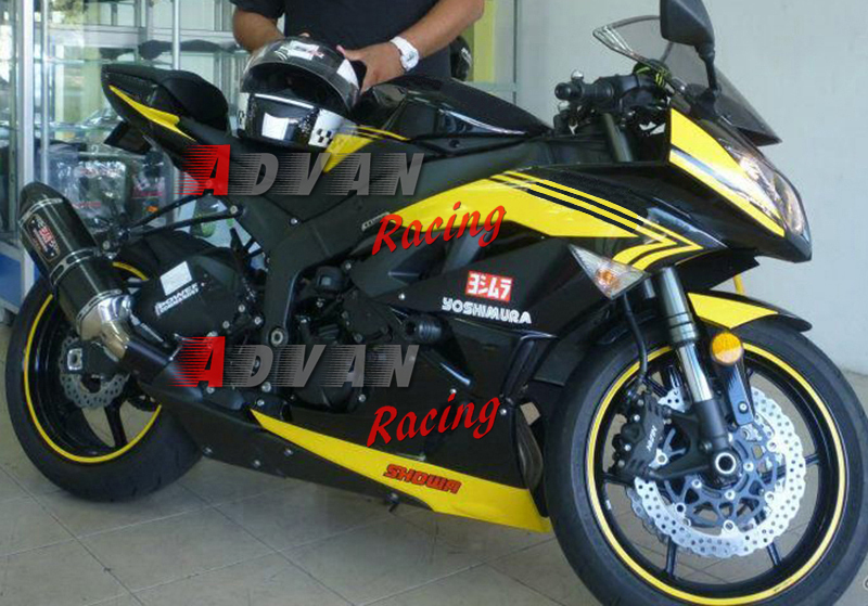 Yellow Black Injection Fairings Bodywork Set Kawasaki Ninja Zx6r 09