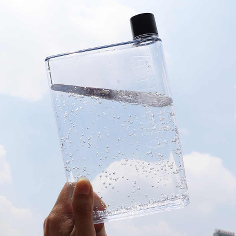New Fashion Flat Water Bottle Portable Clear Book Portable Paper Pad Water Bottle Flat Drinks Kettle Travel Hiking Drinks Bottle