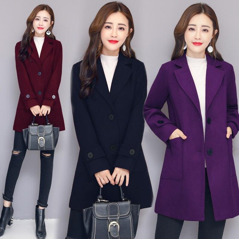 Femme 4xl Femmes Unique Laine Taille Poitrine Automne down rouge Mode Outerwears Casual Plus Collar 2018 M pourpre La Hiver Lâche Turn Manteaux Bleu XwdZXF