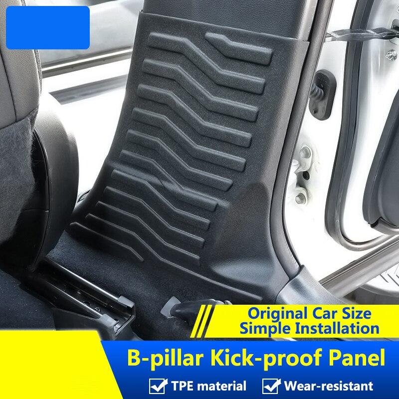 QHCP TPE Door Column Protection Sticker 1Pair Car Inner Door Side B Pillars Protective Pad Covers