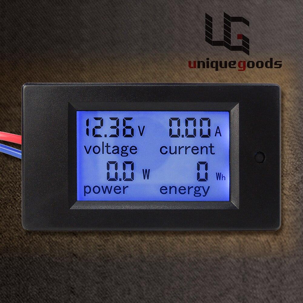 Nuevo DC 6,5-100 V 0-20A pantalla LCD Digital voltaje de corriente medidor de energía multímetro voltímetro amperímetro con 20A derivación de corriente