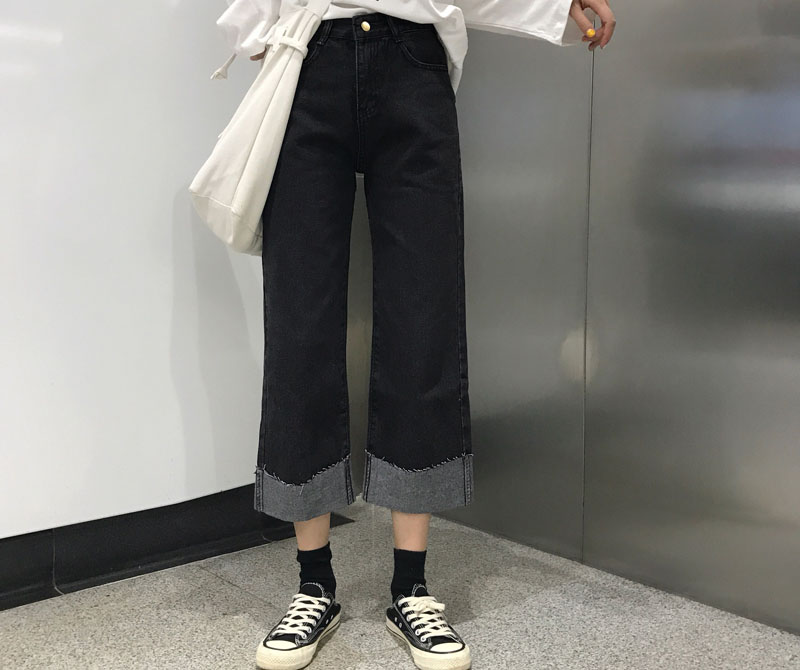 2019 Summer Women Harajuku Mid Waist   Wide     Leg     Pants   Pockets Black Denim Trousers Button Ankle-Length Loose   Pants