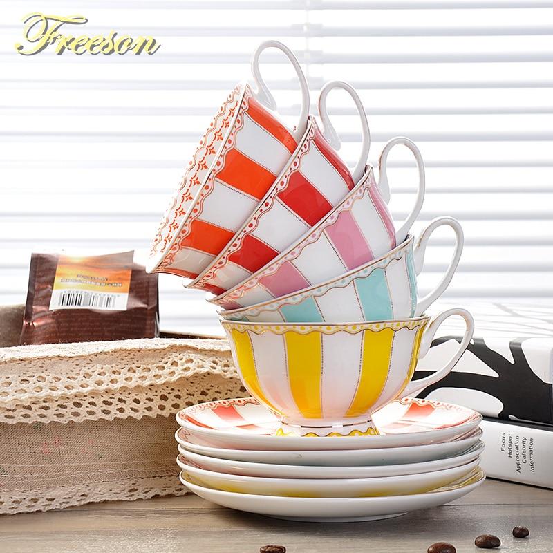Europe Rainbow Bone China Coffee <font><b>Cup</b></font> Saucer Set British Creative Ceramic Teacup 200ml Advanced Porcelain Valentine <font><b>Tea</b></font> <font><b>Cup</b></font>