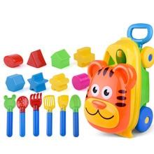 Пляжные игрушки Playset для детей 1 грузовик+ 14 песчаные формы каждый | товар детские пляжные игрушки замок ведро Лопата грабли воды Инструменты