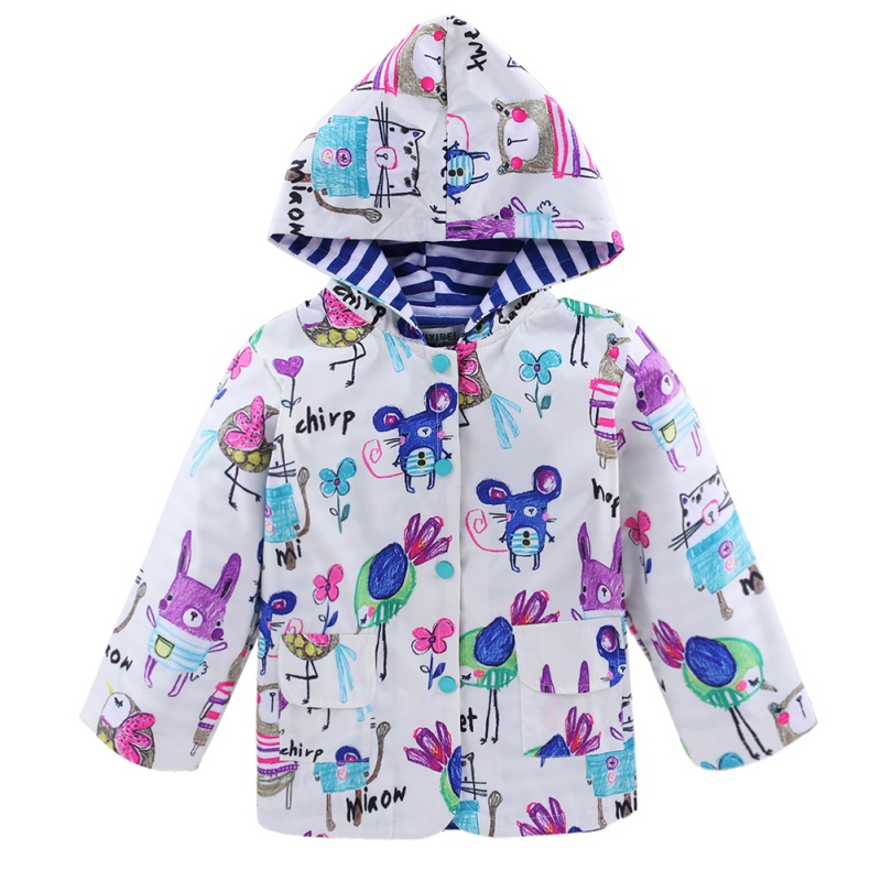Windbreak Kids Cartoon Printing Waterproof Outwear Coat Tops Toddler Baby Girls Hooded Jacket Long Sleeve 3-6T