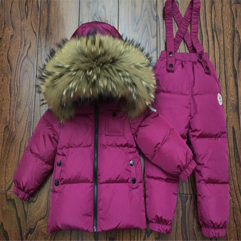 2018 Russia Winter Children's Clothing Sets  Girls Clothes For New Year's Eve Boys Solid Parka Jackets Coat Down Snow Wear