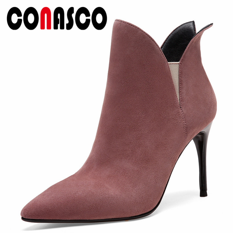 CONASCO New Top Quality Ankle Boots Women Thin High Heels Wedding Party Shoes Woman Pointed Toe Prom Pumps Ladies Short BootsCONASCO New Top Quality Ankle Boots Women Thin High Heels Wedding Party Shoes Woman Pointed Toe Prom Pumps Ladies Short Boots
