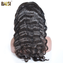 BAISI 360 Lace Frontal Wigs Pre-Plucked Natural Wave Human Hair with Natural Hairline 150% Density Brazilian Remy Hair 10-22Inch