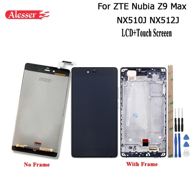 Alesser zte nubia z9 max nx510j nx512j lcd 디스플레이 터치 스크린 + 프레임 수리 부품 전화 액세서리 + zte z9 max 용 도구