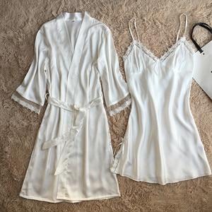 Image 5 - Fiklyc marca das mulheres novo design satin & lace patchwork floral primavera robe & vestido define sono & lounge feminino duas peças de roupa de dormir