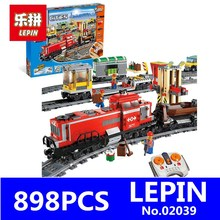LEPIN 02039 898Pcs New City Series Red Cargo Train Set Building Blocks Bricks Educational Children Toys Model Gifts 3677