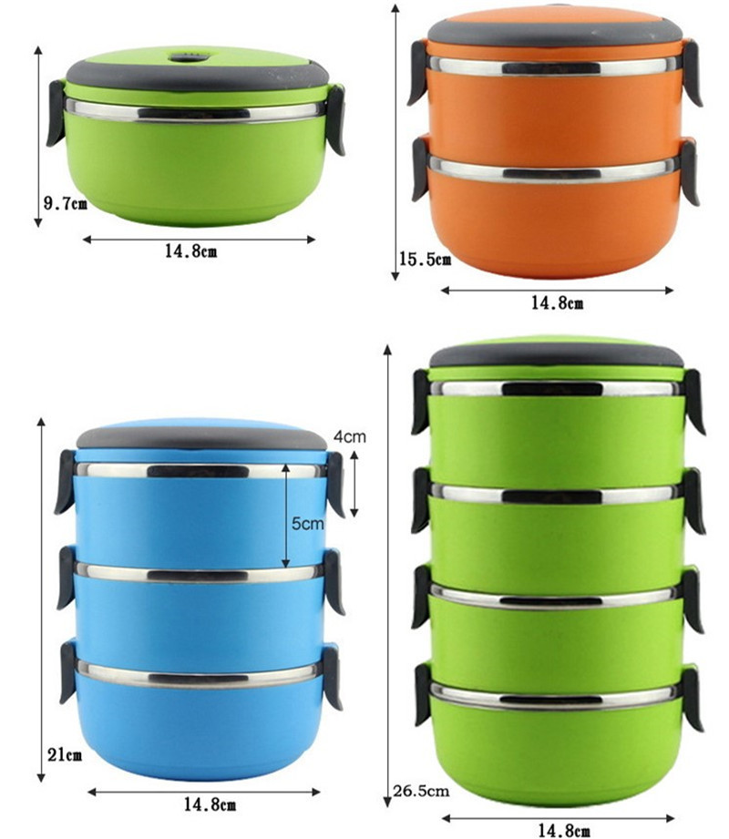 Stainless Steel Bento Lunch Box for Kids Thermal Food Container Portable Dinnerware Sets blue three layers 2
