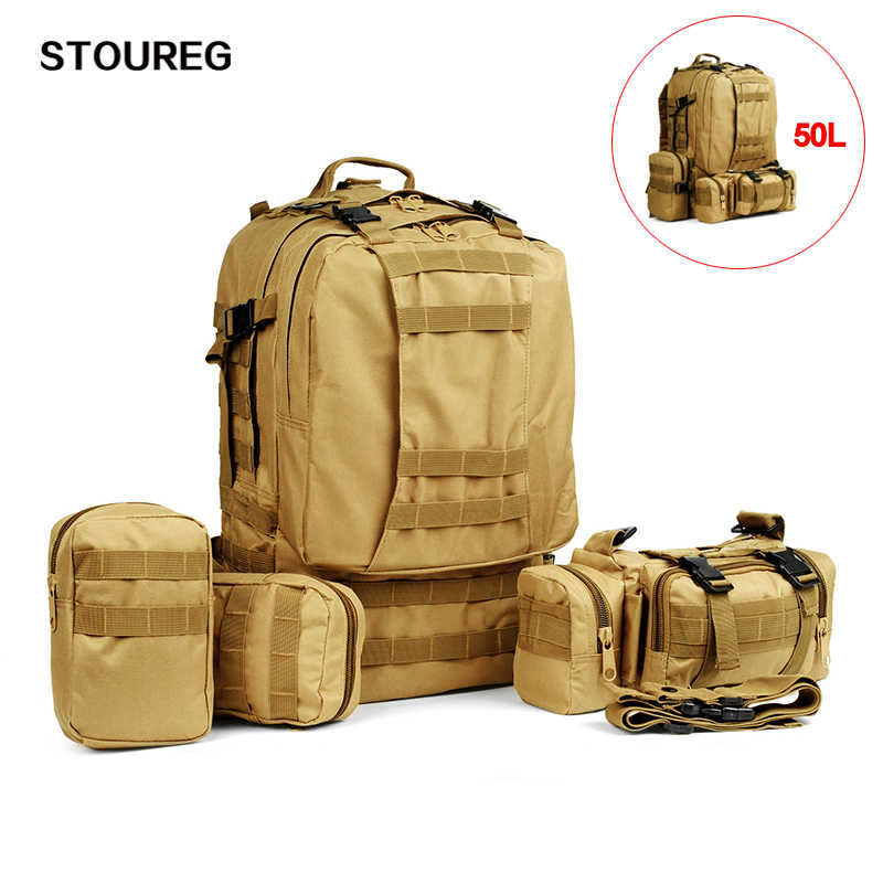 Nylon 50L Military Tactical Backpack Waterproof Camping Hiking Backpack Army Rucksack Outdoor Sport Fishing Hunting Climbing Bag