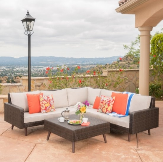 Nuevo juego de sofás elegantes de mimbre de esquina de jardín muebles al aire libre para la venta