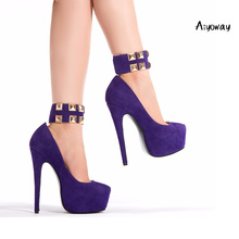Aiyoway 2019 Spring New Women Shoes Round Toe High Heels Platform Pumps Clubwear Party Shoes Slip On Purple Faux Suede light khaki dress shoes suede faux leather round toe pumps platform leopard high heels slip on women shoes real photo us14