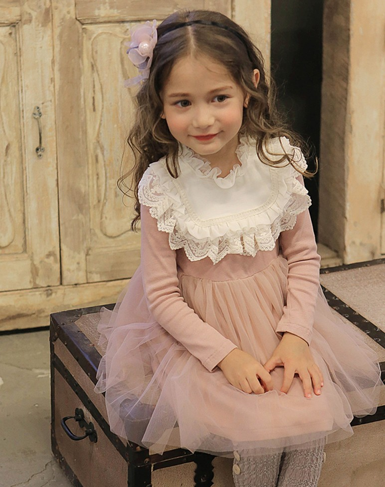 New 2018 Sweet Princess Lace Dress For Baby Kids Girl Clothing Tutu Webbing Party Prom Autumn Long Sleeved Quality Child Dress