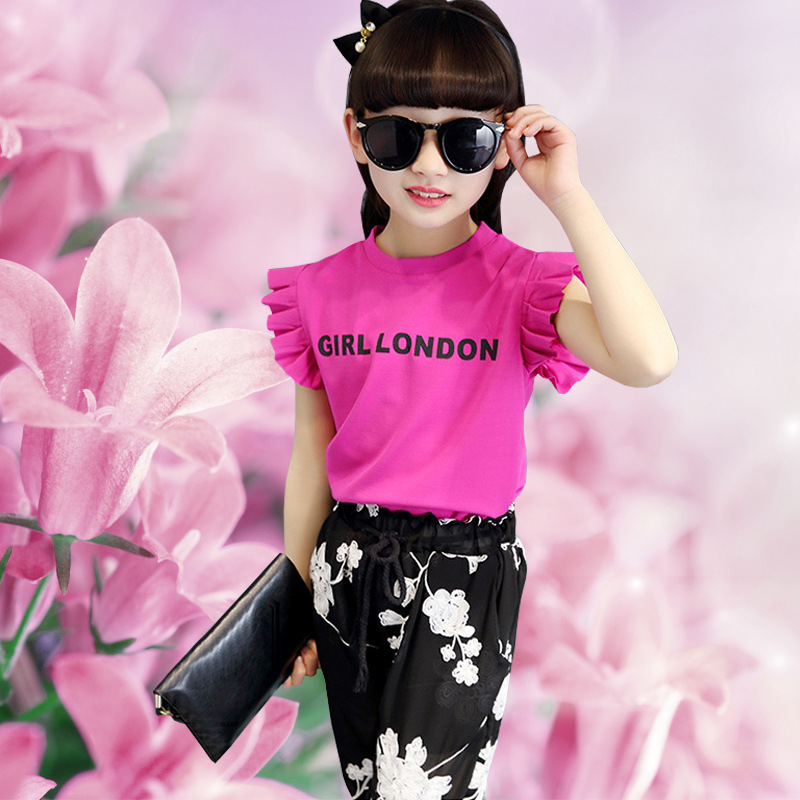 Children's Wear New Girls Korean Wide-legged Pants Outfit Suits Summer Sleeveless Two-pieces Kids Clothing Sets White Black Red