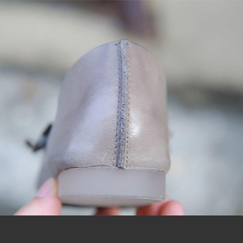 Bouche À Peu Chaussures Mou Fond Fleurs Femmes Cuir gris En Main Profonde Plat Art Haricots De Marron La shrdtQC