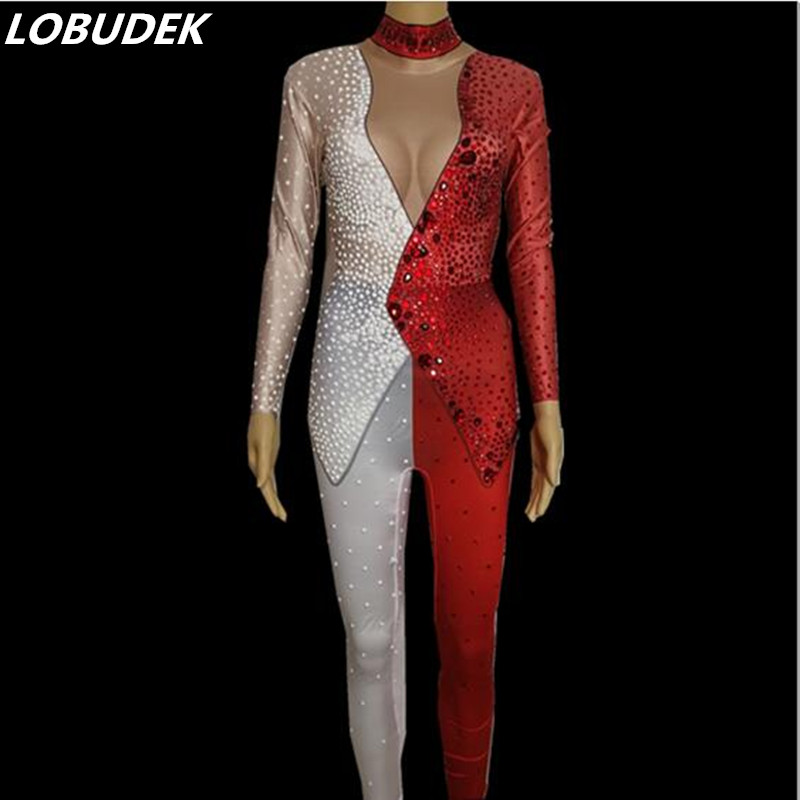 Teacher style female DS costumes Flash Crystals jumpsuit Leotard Stretch Rompers Bar Lead dance singer performance outfit stage teacher performance