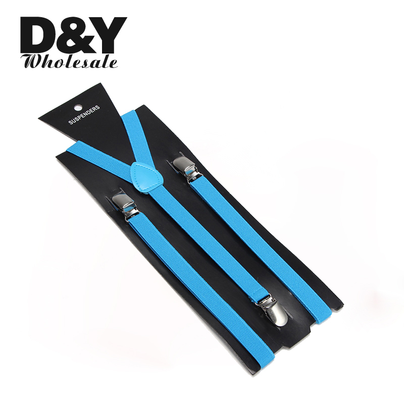 Men Braces 1.5cm Wide Sky Blue Color Suspender Three Clip-on Elastic Braces Slim Suspender Y-back Suspenders/gallus