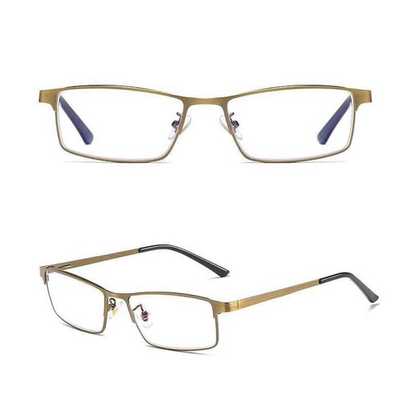 Progressive Multifocal Reading Glasses Men Anti Blue Light Alloy Near Far Sight Spectacles Hyperopia Diopter