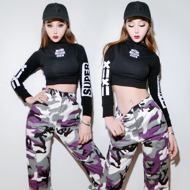 Korean version Jazz Dance Clothing Female Singer Nightclub Sexy Hip Hop Dj Costumes Women Stage Outfits one tops / pants DWY991