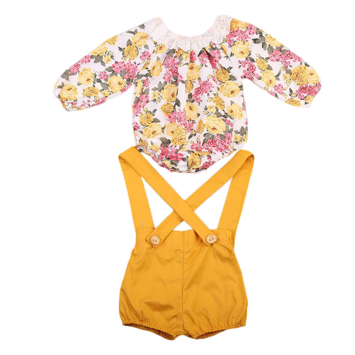 Новый осенний комбинезон для маленьких девочек, кружевной комбинезон принцессы с цветочным принтом + короткие штаны, комплект из 2 предметов, Детский костюм пляжного типа для девочки