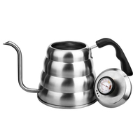 Stainless Steel Built in Thermometer Coffee Pots , Pour Over Coffee Kettle 1.2L Hand Drip Coffee Maker Suit V60 Induction Cooker