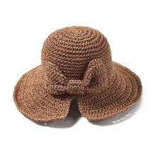 Foldable Packable Weave Bow Knot Lacing Floppy Sun Straw Hat Shade Summer Beach for Women UV Protection Handmade straw hat