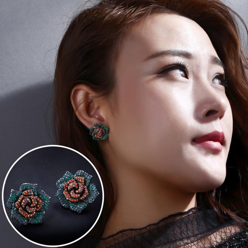Sweet Look Rose Flower Shape Stud Earrings Premium Grade AAA Cubic Zirconia Stone Silver Pin Ethnic Style Earrings
