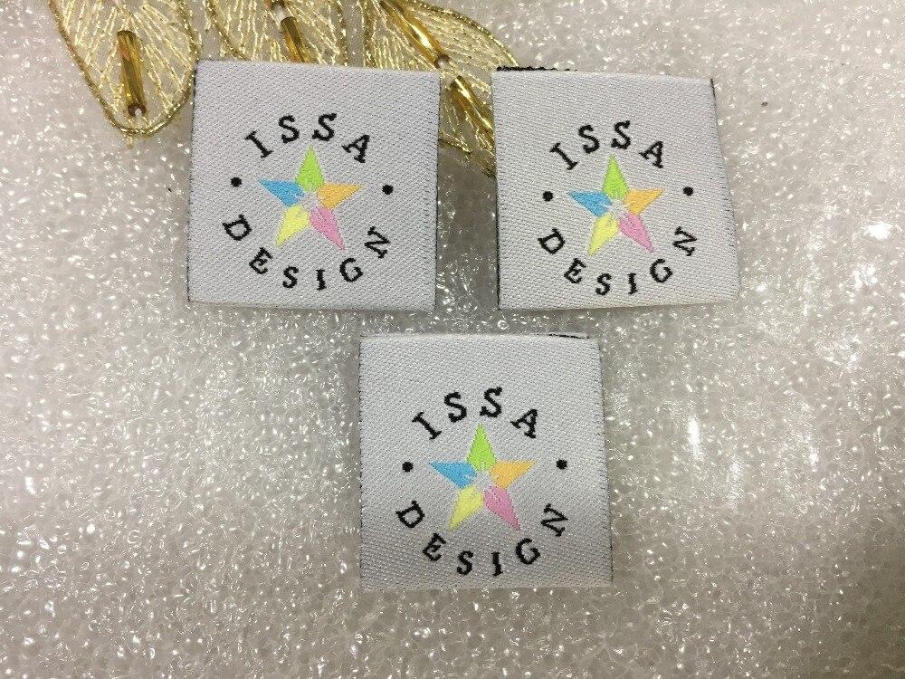 Etiquetas de ropa personalizadas para el Centro etiquetas tejidas para ropa diseño colorido pentagrama ISSA Etiqueta de ropa personalizada de alta calidad-in Etiquetas de ropa from Hogar y Mascotas    1