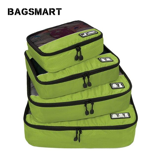 """BAGSMART חדש לנשימה נסיעות תיק 4 set אריזה קוביות אריזת מזוודות מארגני בסוף השבוע תיק נעל תיק Fit 23 """"לשאת על מזוודה"""