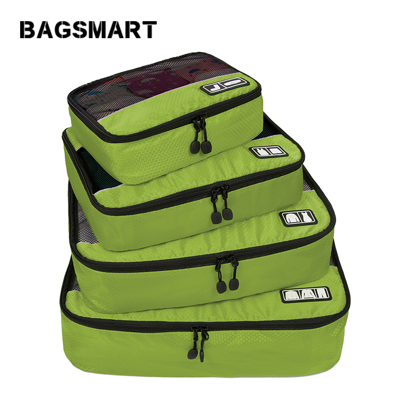 BAGSMART New Breathable Travel Bag 4 Set Packing Cubes Luggage Packing Organizers Weekend Bag Shoe Bag Fit 23