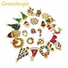 15pcs Hot Wholesale Christmas Hanging Art Mix Colorful Jewelry Making Charms Handmade Crafts Accessory Christmas Deco Gifts(China)