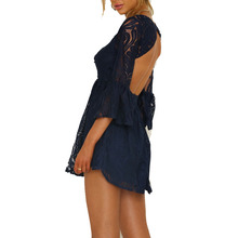 Womens Flare Sleeve Blaackless Lace Floral Mini Dress Solid Color Casual Beach Party Short Dress
