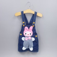 9M-2T Baby Girls Jeans Overalls Shorts Infant Toddlers Kids Denim Rompers Cute Rabbit Jumpsuit For Summer Children Clothes(China)