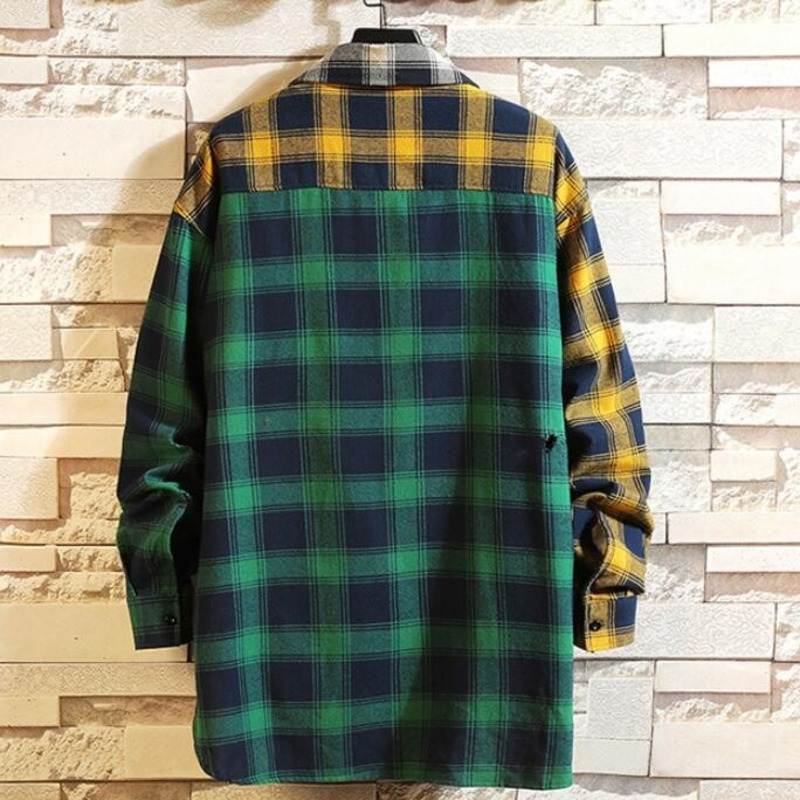 0149 Spring Autumn Hip Hop Shirt Men Cotton Long Plaid Shirt Long Sleeves Harajuku Streetwear Asymmetrical Shirt For Man Loose in Casual Shirts from Men 39 s Clothing