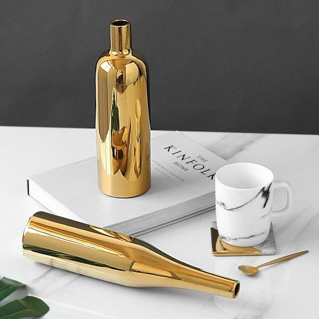 1pc Modern Gold Plated Vase Ceramic Flower Vase Golden Water Planting Container Desktop Decorative Vase  4