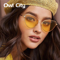 Newest Women Cat Eye Elegant Sunglasses Luxury Brand Designer Small Alloy Frame Gradient Multicolour Len Male