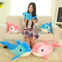 55cm Seven Star Dolphin Pink Blue Back Cushion Soft Doll Stuffed Plush Animal Toy For Baby Girls Kids Lover Children Gift