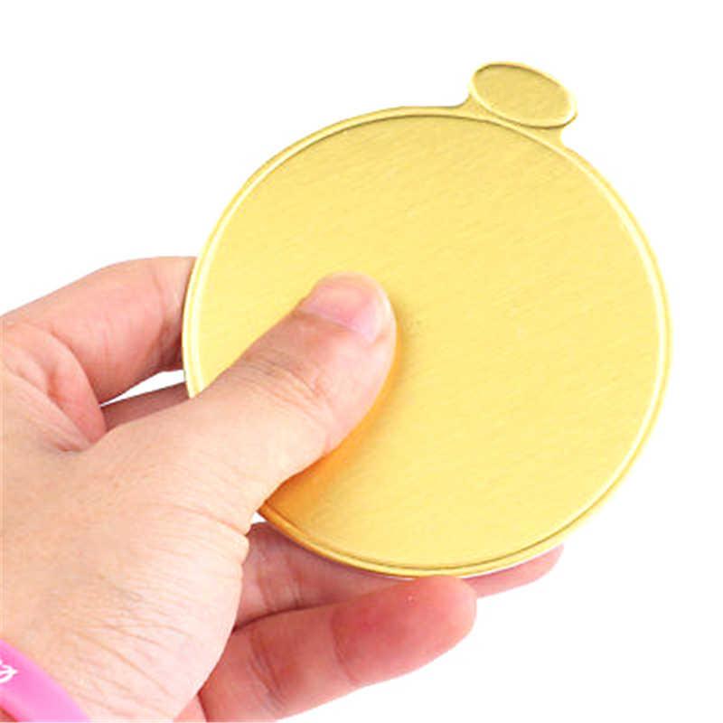 100 Pcs 8 Cm Bulat Mousse Kue Papan Emas Kertas Cupcake Makanan Penutup Menampilkan Tray Pernikahan Ulang Tahun Kue Kue Alat Dekoratif kit